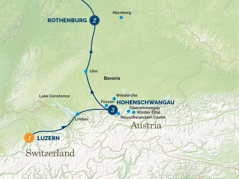 New Year in Bavaria Tour Map