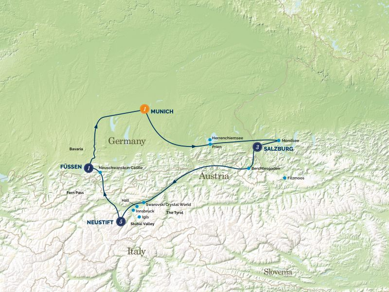 Christmas in the Austrian Tyrol Tour Map