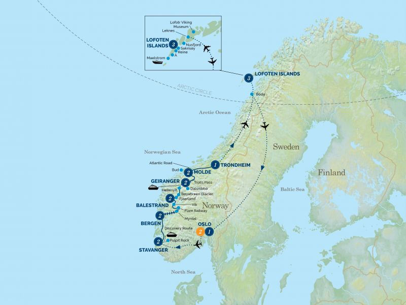 Scandinavia in the Footsteps of the Vikings tour map