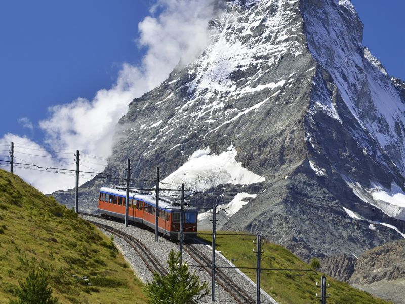 Gornergrat Train traveling up to Zermatt