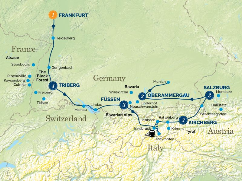 Black Forest, Bavaria & the Tyrol and the Oberammergau Passion Play tour map